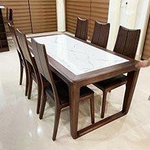 Bàn ghế ăn gia đình mặt đá 6 ghế tựa lưng màu nâu sang trọng BGA25