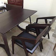 Bộ bàn ghế ăn gia đình katana 4 ghế màu nâu đen BGA27 giá rẻ tại xưởng