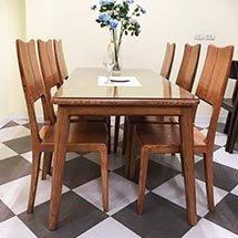 Bộ bàn ghế ăn mặt kính 6 ghế gỗ sồi decor bếp ăn gia đình BGA29