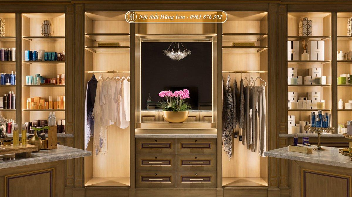Tủ gỗ trưng bày sản phẩm spa kiểu dáng độc đáo