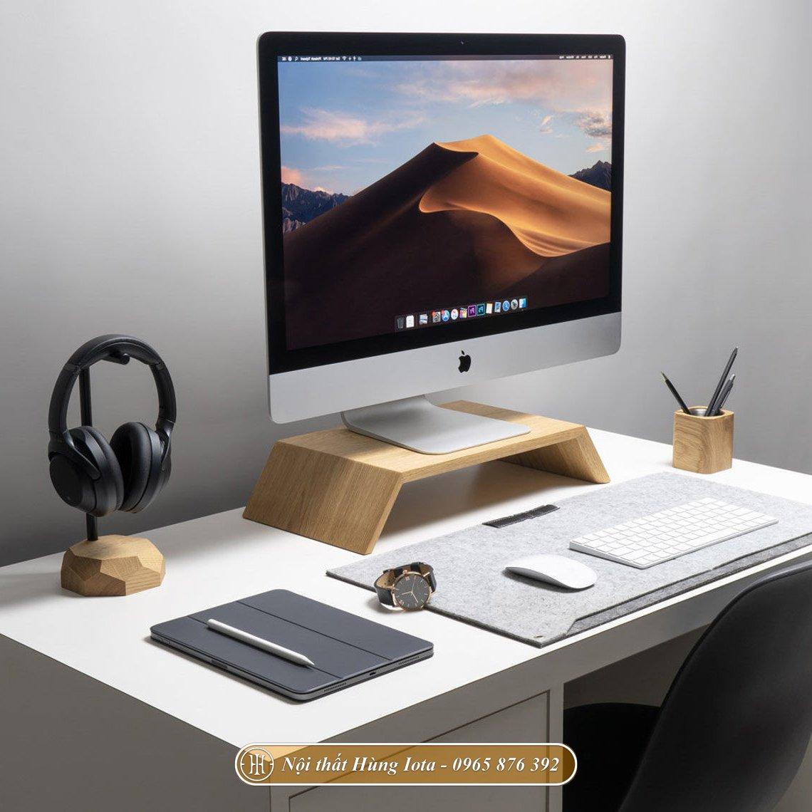 Giá đỡ iMac bằng gỗ hình thang đẹp hiện đại