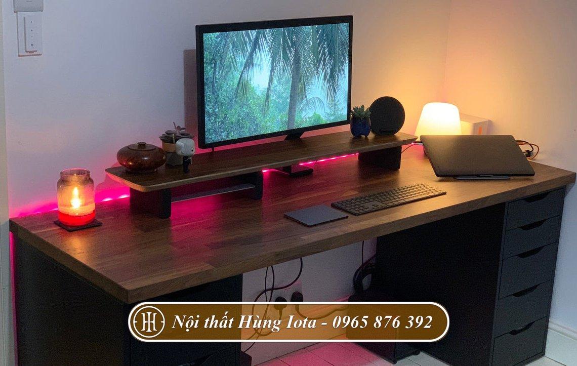 Kệ gỗ kê màn hình decor bàn làm việc