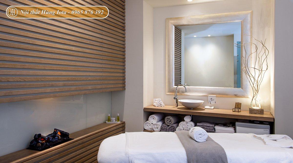 Setup nội thất spa tone trắng nâu gỗ phong cách Provence