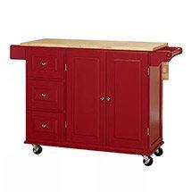 Tủ gỗ đựng đồ nhà bếp có bánh xe màu đỏ sang trọng XDS25