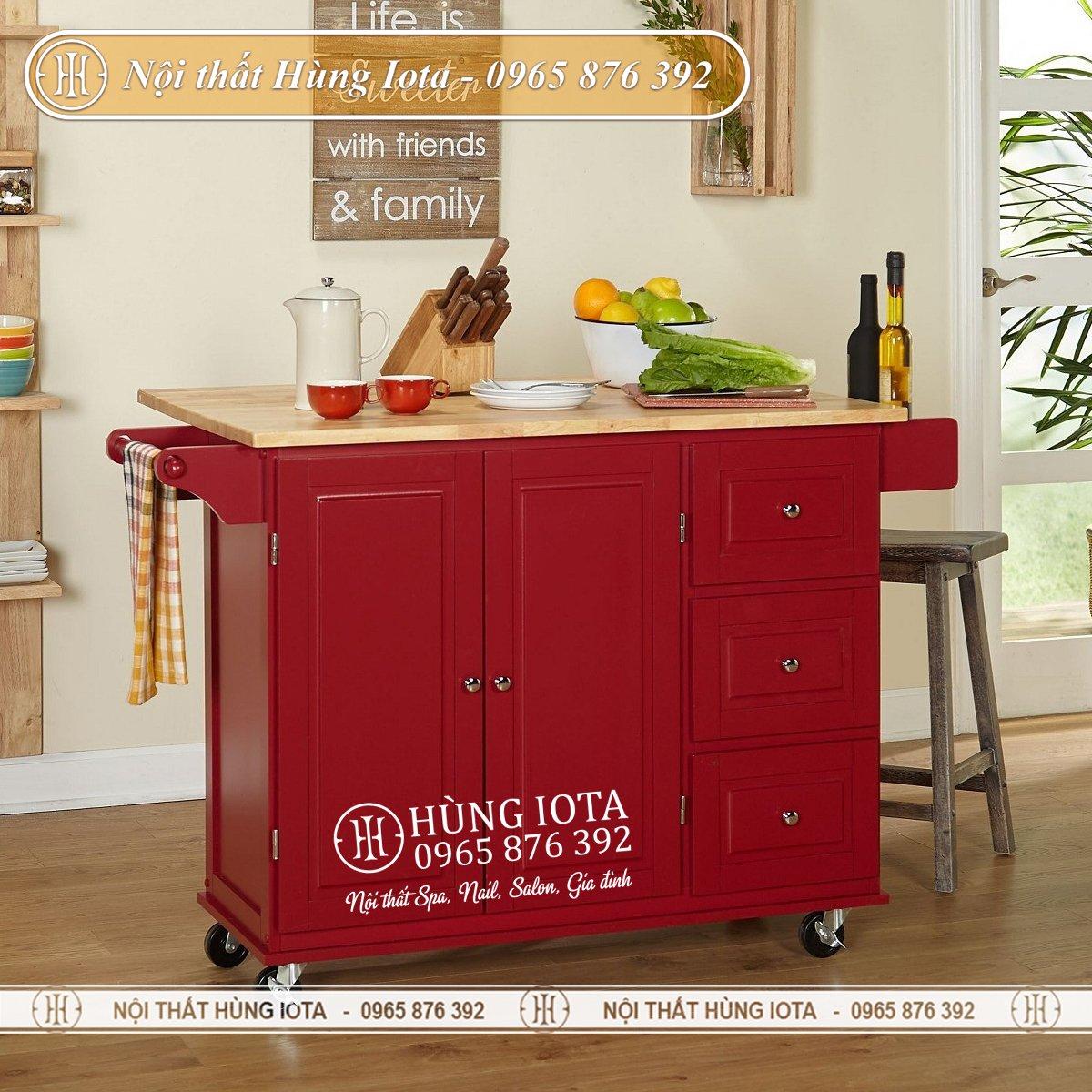 Tủ bếp mini có bánh xe tiện dụng