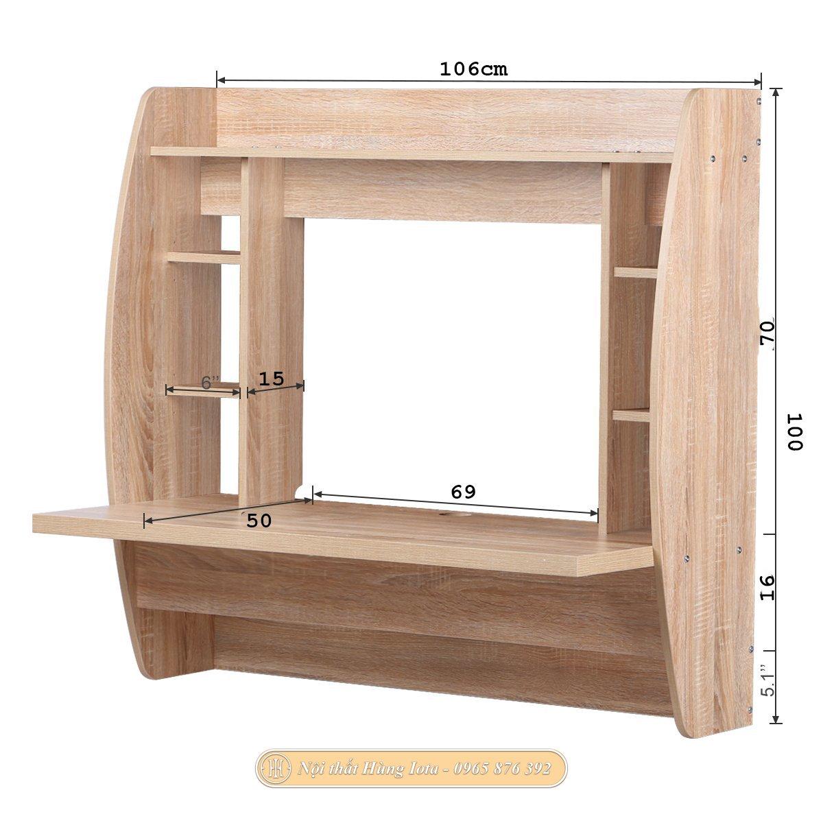 Bàn học treo tường thông minh màu gỗ tự nhiên