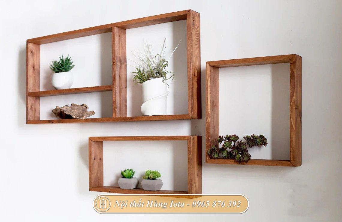 Kệ gỗ hình chữ nhật đựng chậu cây cảnh decor