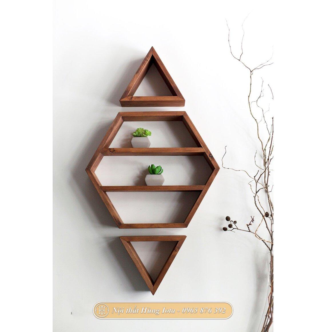 Kệ gỗ hình thoi trang trí phòng khách, phòng ngủ