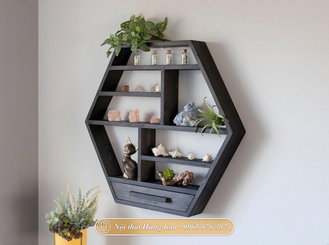 Kệ lục giác treo tường màu đen có ngăn kéo đựng đồ gia đình