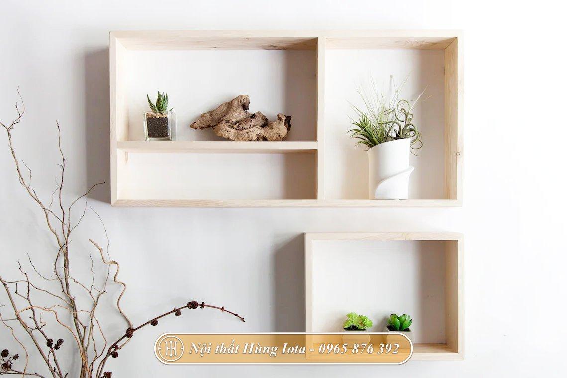 Kệ treo tường decor phòng khách, phòng ngủ màu gỗ
