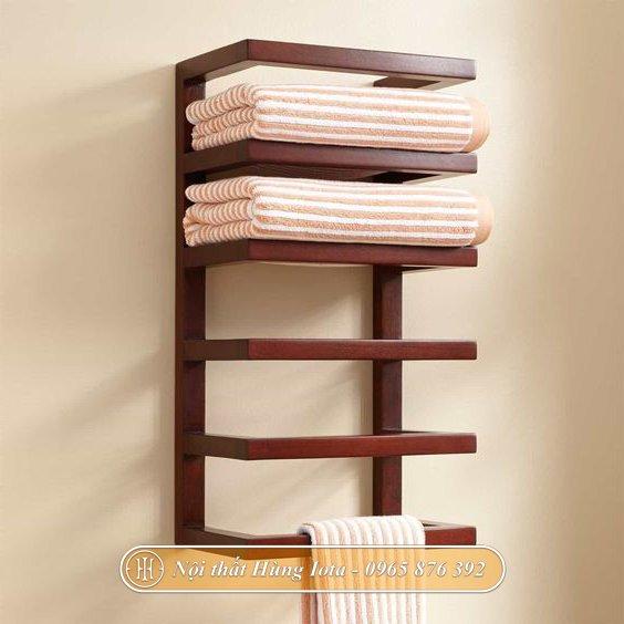Kệ treo tường đựng khăn tắm 6 tầng gỗ sồi cao cấp