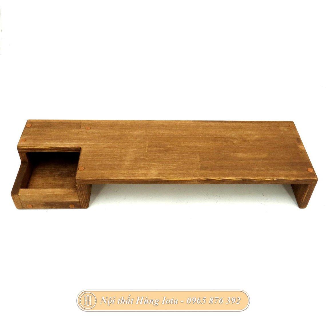 Kệ treo tường gỗ sồi có hộc đựng đồ