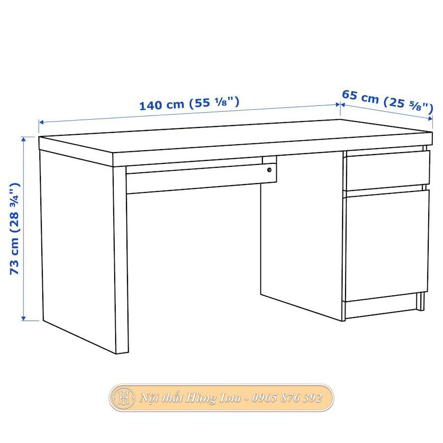 Kích thước bàn làm việc gỗ sồi