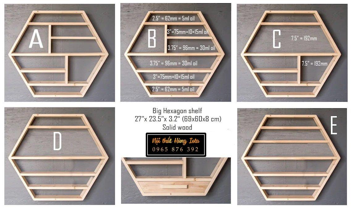 Mẫu kệ gỗ treo tường đa năng hình lục giác
