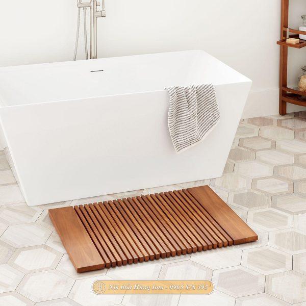 Thảm gỗ phòng tắm màu gỗ tự nhiên