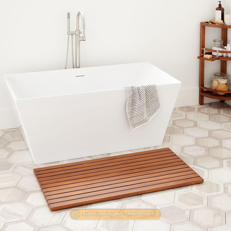 Thảm kê chân phòng tắm bằng gỗ chống thấm cao cấp