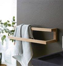 Giá treo khăn tắm đơn giản, nhỏ gọn bằng gỗ cao cấp chống thấm KG44