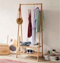 Giá treo quần áo chữ A 2 tầng decor màu gỗ phong cách Hàn Quốc KG29