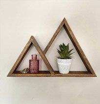 Kệ gỗ để bàn decor hay kệ treo tường đa năng hình tam giác KG75