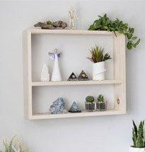 Kệ gỗ treo tường 2 tầng đơn giản đựng chậu cây nhỏ decor KG67