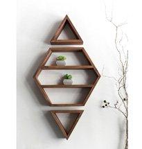 Kệ gỗ treo tường hình thoi đẹp độc đáo trang trí spa, salon, tiệm nail KG59