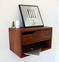 Kệ gỗ treo tường phòng khách, phòng ngủ gia đình có hộc đựng đồ KG25