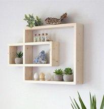 Kệ treo tường đa năng màu gỗ kết hợp 2 hình chữ nhật đẹp độc đáo KG68