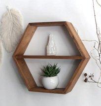 Kệ treo tường hình lục giác đơn giản decor phòng khách, phòng ngủ KG58