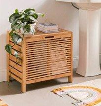 Tủ đựng quần áo decor phòng tắm có nắp đậy màu gỗ tự nhiên KG51