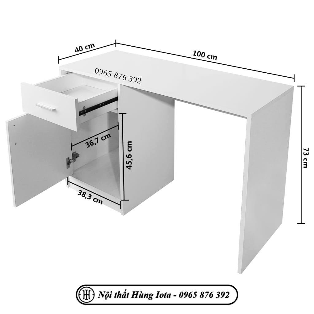 Kích thước bàn làm việc có tủ đựng đồ