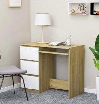 Bàn làm việc 3 ngăn kéo màu trắng và gỗ tự nhiên BGD54