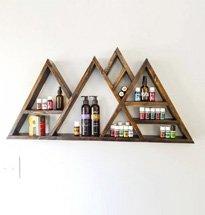 Kệtreo tường hình dãy núi màu óc chó đựng mỹ phẩm decor spaKG77