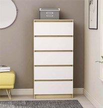 Tủ đựng đồ 5 ngăn kéo màu vàng trắng gỗ công nghiệp TDD52