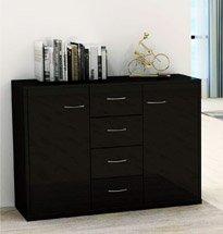 Tủ gỗ công nghiệp màu đen sang trọng nhiều ngăn đựng đồ TDD58