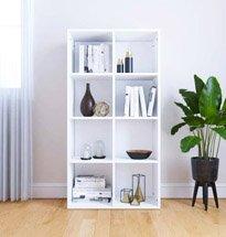 Tủ đựng sách 8 ngăn màu trắng chất liệu gỗ công nghiệp TDD62