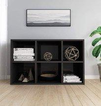Tủ đựng sách gỗ công nghiệp 6 ngăn màu đen hiện đại TDD40
