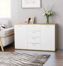 Tủ nhỏ trang trí phòng khách, phòng ngủ màu trắng – vàng gỗ TDD55