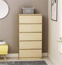 Tủ ngăn kéo 5 tầng màu gỗ decor phòng khách, phòng ngủ TDD51