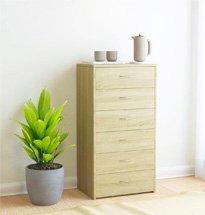 Tủ ngăn kéo 6 tầng màu gỗ đơn giản, nhỏ gọn, công dụng đa năng TDD48