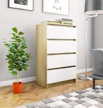 Tủ ngăn kéo decor phòng khách màu vàng trắng chất liệu gỗ MDF TDD54