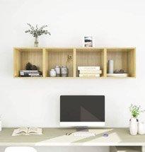 Tủ ô vuông treo tường màu gỗ nhỏ gọn, công dụng đa năng TDD63