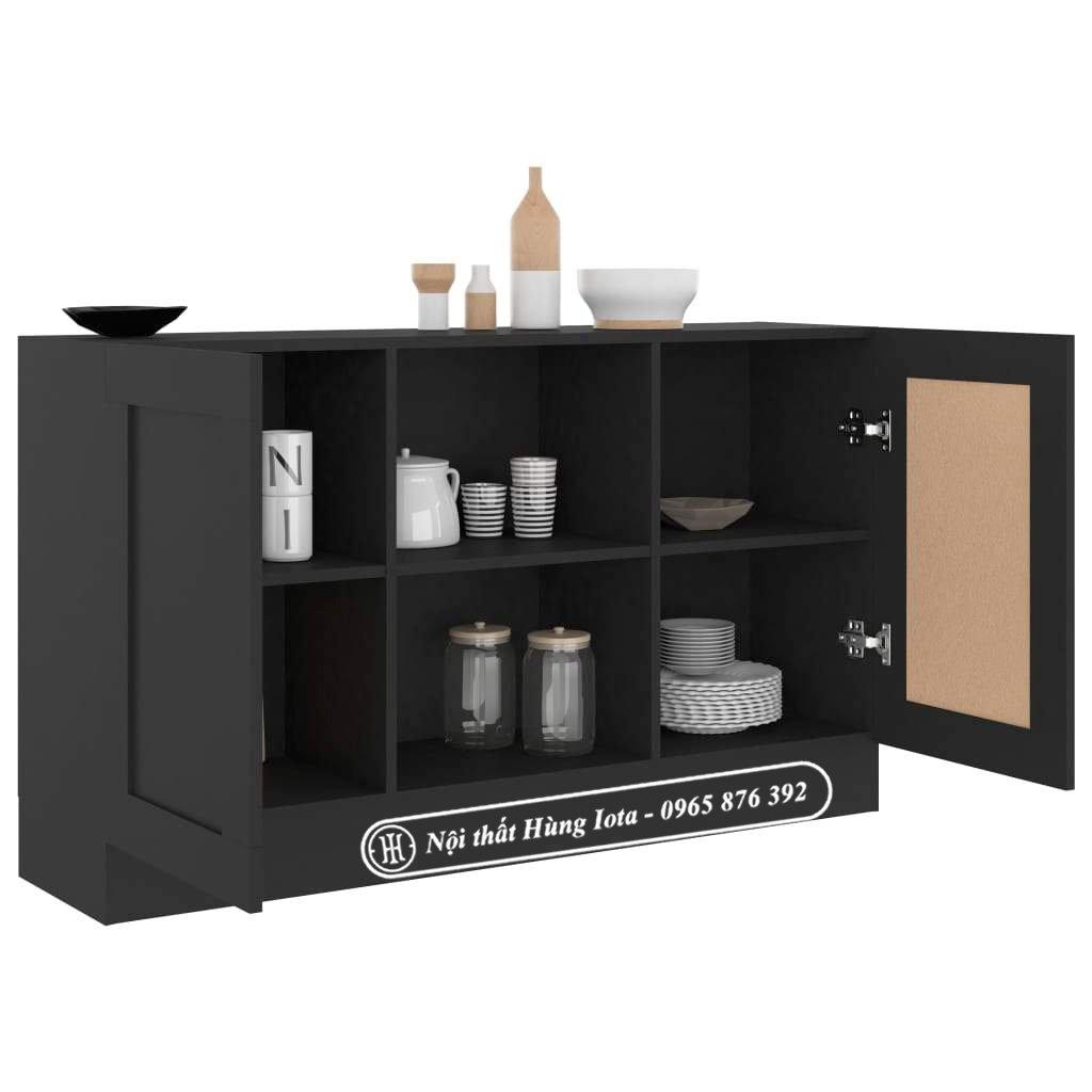 Tủ gỗ công nghiệp màu đen đựng đồ nhà bếp