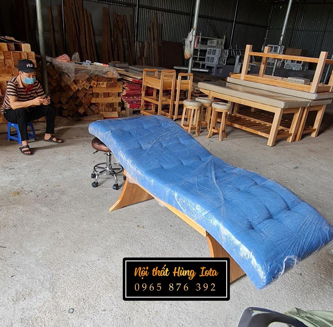 Giường nối mi cong chân gỗ cho spa, tiệm nail mi