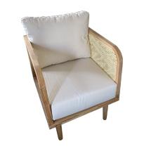 Ghế gỗ tựa tay đan mây decor màu gỗ sáng GHI26