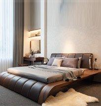 Giường ngủ gỗ óc chó chân cong có tựa đệm bọc da cao cấp GN03