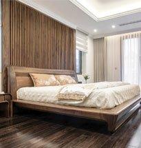Giường ngủ gỗ óc chó có tựa lưng chân cong cao cấp GN02