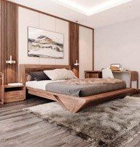 Giường ngủ gỗ óc chó cao cấp chân hình thang đẹp GN10
