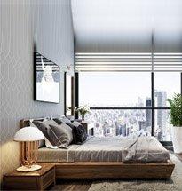 Giường ngủ gỗ óc chó chung cư cao cấp GN04