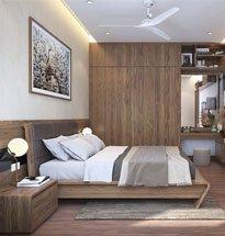 Giường ngủ gỗ óc chó tựa đệm cao, chân chữ V đẹp độc đáo GN06