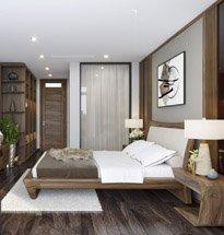 Giường ngủ gỗ óc chó tựa đệm cong cao cấp GN11